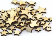 Pack of Mixed Size Natural Wood Colour Little Star Shaped Wooden Crafting Sewing Scarpbooking DIY Buttons Over 240pcs