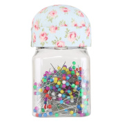 Neoviva Transparent Plastic Jar with Pincushion Lid for Easy Sewing, 300 Quilting Pins Included, Floral Starlight Blue