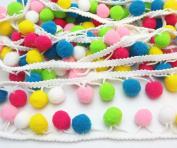 Dandan DIY 5yards Colourful 16mm Pom Pom Ball Fringe Trim Ribbon for Clothes Sewing Home Party Wedding Decoration Lace Ribbon Craft Supply