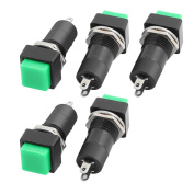 sourcingmap® 5pcs AC250V 3A 12mm Thread SPST Momentary Green Square Head Push Button Switch