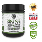 MCT Oil Powder from Coconuts, No Fillers. Creamy and Blends Easily, Great as a coffee creamer, weight loss and pre-workout. Left Coast Performance. 350ml
