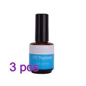 BeautyLife 3 x UV Topcoat Nail Art 14ml 0.5oz Top Coat Base UV Gel Acrylic