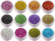 12 x Nail Glitter Sparkle Dust Powder Pots for Nail Art Design