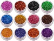 12 x Nail Glitter Sparkle Dust Powder Pots for Nail Art Design