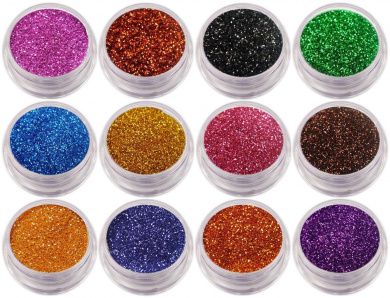 12 x Nail Glitter Sparkle Dust Powder Pots for Nail Art Design (Set 9)