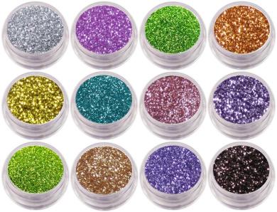 12 x Nail Glitter Sparkle Dust Powder Pots for Nail Art Design (Set 8)