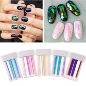 IGEMY 5 Pcs New Nail Art Stencil Foils Nails Wraps Decal Glitter Shattered Glass DIY