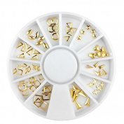 Gold Rivet Multi Shaped Design Alloy Decoration Nail Art Cylinder Design Studs 3D Rhinestone Accessories Wheel by Clest F & H