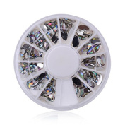 Acrylic Oval Sliver Rhinestone Nail Art Decorations DIY Wheel Tips Phone Jewellery Decoration Tools by Clest F & H