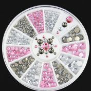 Mixed 4 size 2-5mm Glitter AB Round Acrylic Rhinestone Nail Art Decoration Phone Gems Wheel by Clest F & H