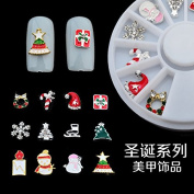 3D Tips Christmas Nail Art Decoration Alloy Jewellery Glitter Rhinestones Slice Stickers Foil Wheel DIY Tools by Clest F & H
