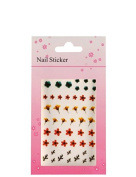 Flower nail stickers classic, Flowers red yellow, petrol, red, yellow, dark green
