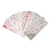 Demiawaking 12Pcs Nail Art Fittings Transfer Stickers DIY Manicure Wraps Stickers Nail Tips Decals Decorations
