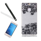 Huawei P9 Case,Huawei P9 Bling Case,Leeook Creative Shiny Glitter Hard Back Cover Pretty Black Flower Pattern Slim Fit Soft Tpu Frame Silver Silicone Rubber Case Cover for Huawei P9+ 1x Black Stylus-Silver,Black Flower