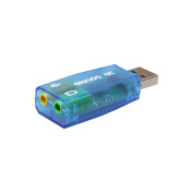 Shensee 5.1 USB to 3.5mm Mic headphone Jack Stereo Headset 3D Sound Card Audio Adapter -- Blue