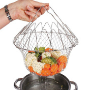 Chef Cooking Basket Colander Fry Folds Flat Strainer Net Foldable Kitchen Cooking Tool by Pixco