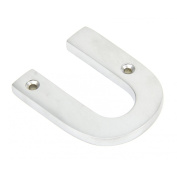 Satin Chrome Letter U - Height 78mm, Thickness 8mm