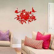 RUGAI-UE Wall decoration mirror affixed to the Chinese wind peony flower bedroom living room sofa backdrop decoration, 38.5*50cm,gules