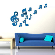 RUGAI-UE Children's room wall stickers stickers stickers, notes DIY Music Room,blue
