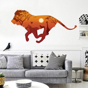 RUGAI-UE Lion silhouette modern living room wall decoration wall stickers, 30*90*2cm