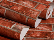Brick Masonry PVC Wallpapers Living Room Restaurant Wallpapers,Red