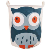 SFGHOUSE Large Cartoon Foldable Cotton Linen Laundry Hamper with Handles Laundry Basket Toys Organiser Clothes Holder