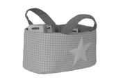 Funny Baby Vichy – Layette Basket 30 x 30 x 18 cm, Star Design, Grey