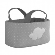 Funny Baby 623179 – Layette Basket 30 x 30 x 18 cm, design Spots and Clouds, Grey
