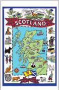 Scotland Map Tea Towel