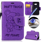Galaxy A5 2017 Wallet Case,Samsung Galaxy A5 2017 Leather Case,Etsue Cute Funny Bear Quote Cool Leather Magnetic Bookstyle Strap Wallet Case Cover with Card Holder for Samsung Galaxy A5 2017+Blue Stylus Pen+Bling Glitter Diamond Dust Plug(Colours Rando ..