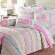 Gracie Girls Quilt Set - Pastel Stripes White Lime Green Pink Alternating Rows of Flowers Polka Dots Plaid Cheques Accented with Aqua Blue Micro Ruffles 3pc - Full / Queen