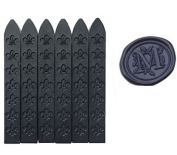 MNYR New 6pcs Black Wax Sticks with Wicks for Decorative Wedding Invitations Wax Seal Sealing Stamp Gift Cards Sealing Wax