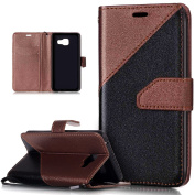 Galaxy A3 2016 Case,Galaxy A3 2016 Cover,ikasus Hit Colour Collision Premium PU Leather Fold Wallet Pouch Flip Stand Credit Card ID Holders Case Cover for Samsung Galaxy A3 (2016) A310 (12cm ),Brown
