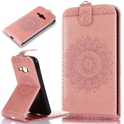 Galaxy J1 2016 Case,Amp 2 Case,Express 3 Case,ikasus Embossing Lace Floral Mandala Flower PU Leather Fold Pouch Wallet Flip Stand Credit Card Holders Case for Galaxy J1 2016/Amp 2/Express 3,Rose Gold