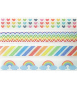 Rainbow Multi-Coloured Washi Tape Set (4 Rolls Total - 1 of Each Design Pictured) - Rainbow Striped & Chevron Printed Tape, Rainbow Hearts Crafting Tape, Rainbow Clouds Wrapping Tape
