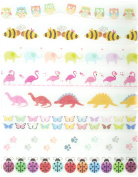 Animals Washi Tape Set (8 Rolls Total - 1 of Each Design Pictured) - Flamingo, Elephant, Butterfly, Puppy Paw, Owl, Dinosaur Self Adhesive Tape, Ladybug Tape, Bee Clear Tape