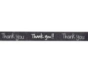 Thank You Washi Tape (1 Roll - 1.4cm wide x 10.95 yards long) - Thank You Note Gift Wrap Tape, Black Washi Tape, Printed Tape, Crafting Supplies, Adhesive Tape Products