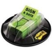 Post-it Flags 680HVSD - Flags in Dispenser, Sign & Date, Bright Green, 200 Flags/Dispenser