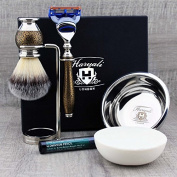 Complete Golden Classic Men's Shaving & Grooming Set Featuring Synthetic Brush & Gillette Fusion Razor with Stand, Bowl & Soap. Vintage Style Kit.