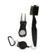 Regpre Golf Groove Clean Brush & Foldable Divot Tool with Retractable Clip Easily Attaches to Golf Bag