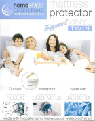 Mattress Protector - Waterproof and Dust Mite Proof Durable Super Soft Zippered Vinyl Mattress cover - Twin