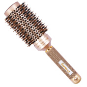 SUPRENT Nano Thermal Ceramic & Ionic Round Barrel Hair Brush with Boar Bristle, 3.3cm , for Hair Drying, Styling, Curling, Adding Hair Volume and Shine, Gold Colour
