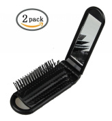 LOUISE MAELYS 2pcs Portable Folding Hair Brush with Mirror Compact Pocket Hair Comb for Travel Gift Idea