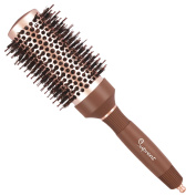 SUPRENT Nano Thermal Ceramic & Ionic Round Barrel Hair Brush with Boar Bristle, 4.6cm , for Hair Drying, Styling, Curling, Adding Hair Volume and Shine, Nostalgic Gold Colour