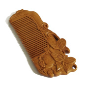 FANTAC CRAFTS Women Girl Peach Wood Hair Comb No Static Carved Butterfly Flower Pocket Hair Accessories