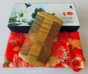 Green sandalwood no static handmade comb, Pocket comb (beard) S4