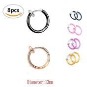 8PCS TKOnline Non-Piercing Septum,Fake Clip On Earrings for Sensitive Ears, Spring Hoop Earrings, Fake Cartilage Nose Ring.