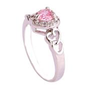 Empsoul 925 Sterling Silver Natural Novelty Filled Pink & White Topaz Heart Shaped Halo Wedding Bridal Ring