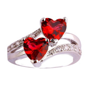 Empsoul 925 Sterling Silver Natural Chic Created 2.5ct Ruby Spinel Topaz Heart Shaped Wedding Ring