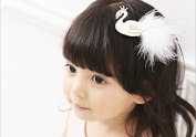 Leiothrix Elegant Swan White Hair Clip for Children Apply to Birthday Party Photograph Casual